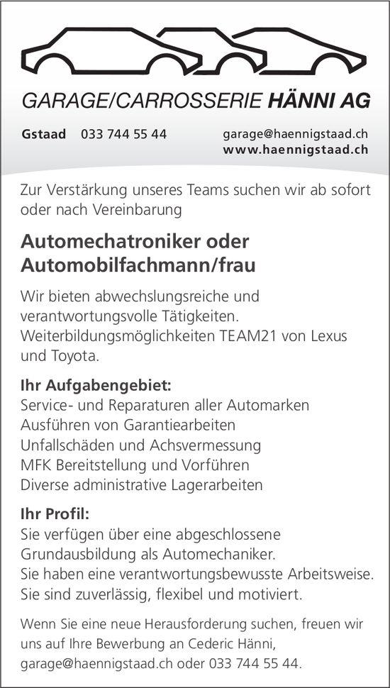 Automechatroniker oder Automobilfachmann/frau, Garage/Carrosserie Hänni AG, Gstaad, gesucht