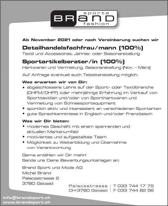 Detailhandelsfachfrau/mann (100%) & Sportartikelberater/in (100%), Brand Sport und Mode AG, Gstaad, gesucht