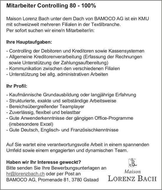 Mitarbeiter Controlling 80 - 100%, BAMOCO AG, Gstaad, gesucht