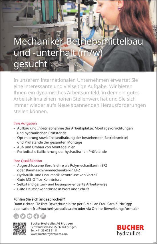 Mechaniker Betriebsmittelbau und -unterhalt (m/w), Bucher Hydraulics AG, Frutigen, gesucht