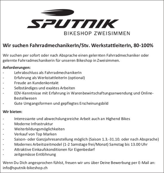 FahrradmechanikerIn/Stv. WerkstattleiterIn, 80-100%, Sputnik Bikeshop, Zweisimmen, gesucht