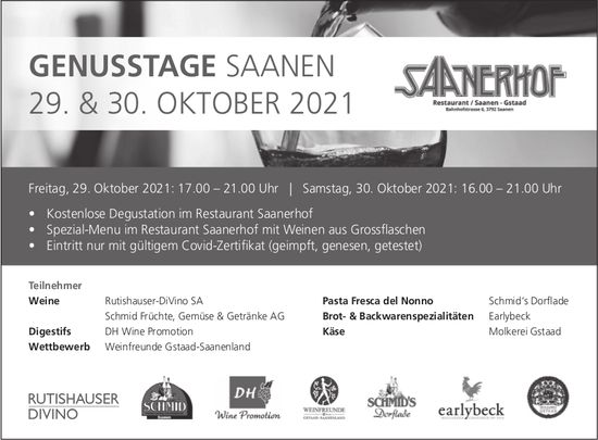 Genusstage, 29. + 30. Oktober, Hotel Saanerhof, Saanen