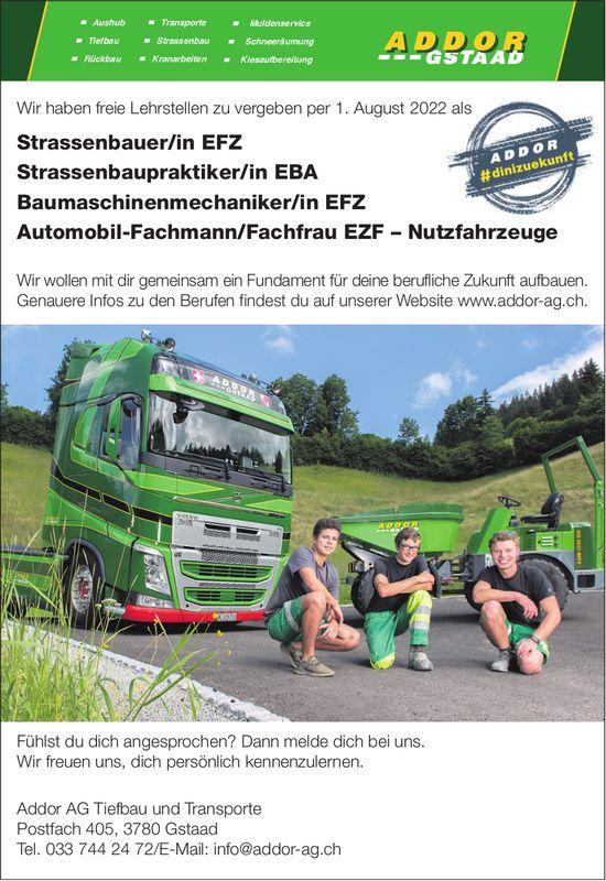 Freie Lehrstellen, Addor AG Tiefbau und Transporte, Gstaad, zu vergeben