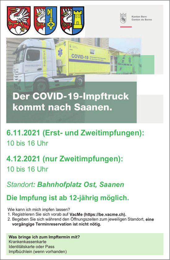 Der COVID-19-Impftruck kommt, 6. November & 4. Dezember, Saanen