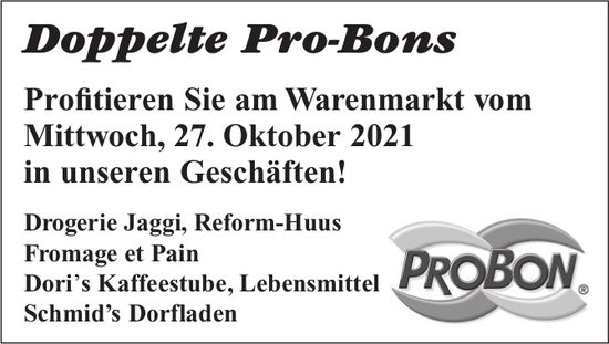 Doppelte Pro-Bons am Warenmarkt, 27. Oktober