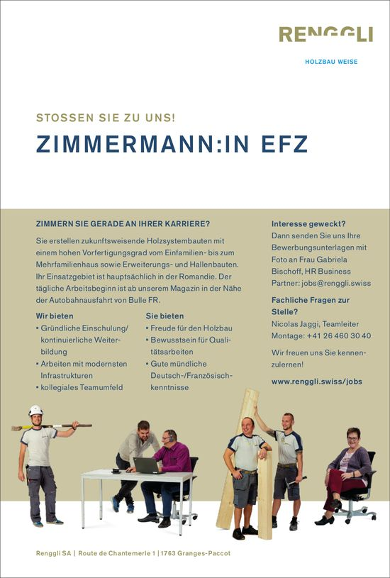 Zimmermann/in EFZ, Renggli SA, Granges-Paccots, gesucht