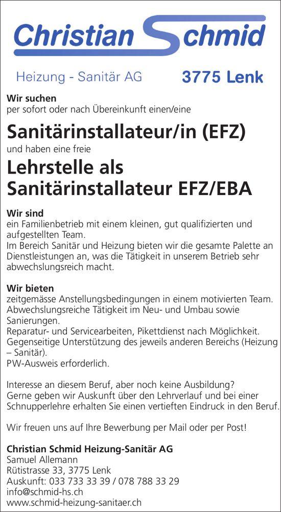 Sanitärinstallateur/in (EFZ), Christian Schmid Heizung-Sanitär AG, Lenk, gesucht und freie Lehrstelle als Sanitärinstallateur EFZ / EBA