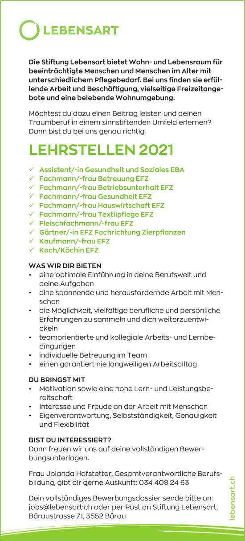 Lehrstellen 2021, Stiftung Lebensart, Bärau, zu vergeben