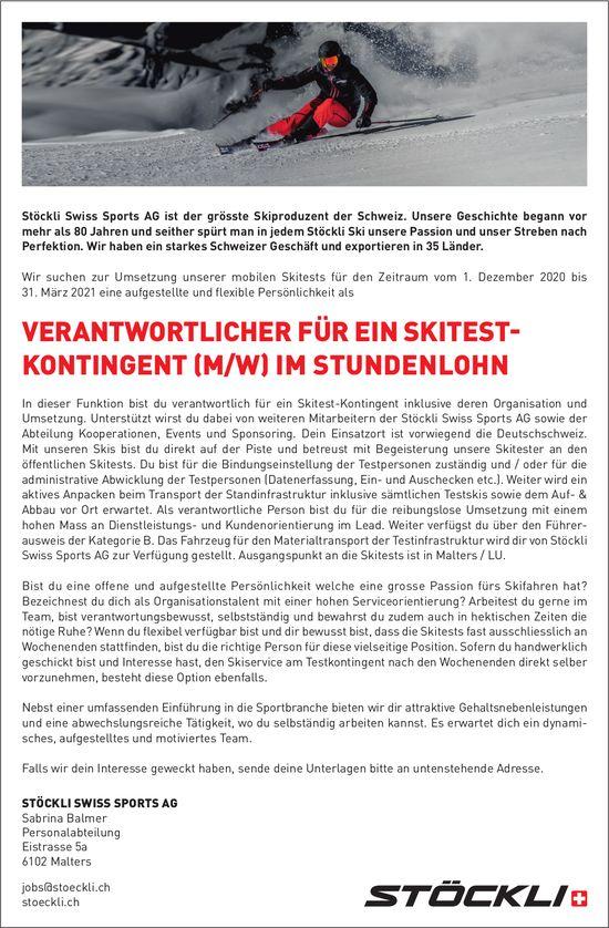 Verantwortlicher für ein Skitest-Kontingent (m/w) im Stundenlohn, Stöckli Swiss Sports AG, Malters, gesucht
