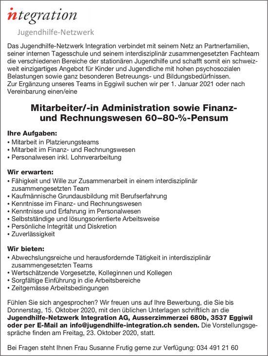 Mitarbeiter/-in Administration sowie Finanz- und Rechnungswesen, Jugendhilfe-Netzwerk Integration AG, Eggiwil,  gesucht