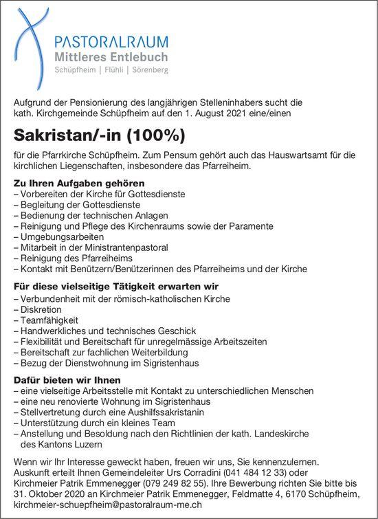 Sakristan/-in (100%), kath. Kirchgemeinde, Schüpfheim,  gesucht