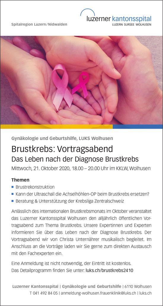Brustkrebs: Vortragsabend, 21. Oktober, KKLW, Wolhusen