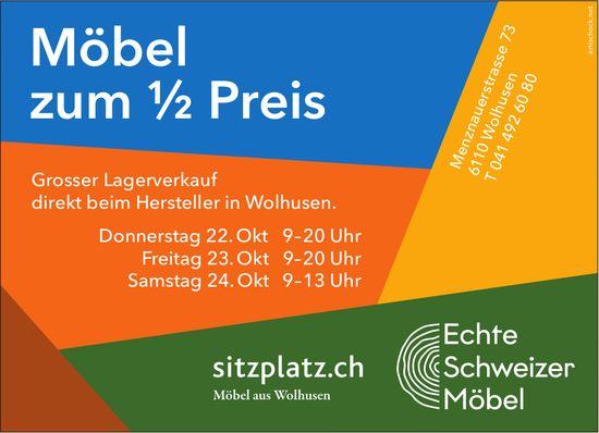 Grosser Lagerverkauf - Möbel zum 1/2 Preis, sitzplatz.ch, 22. Oktober, Wolhusen