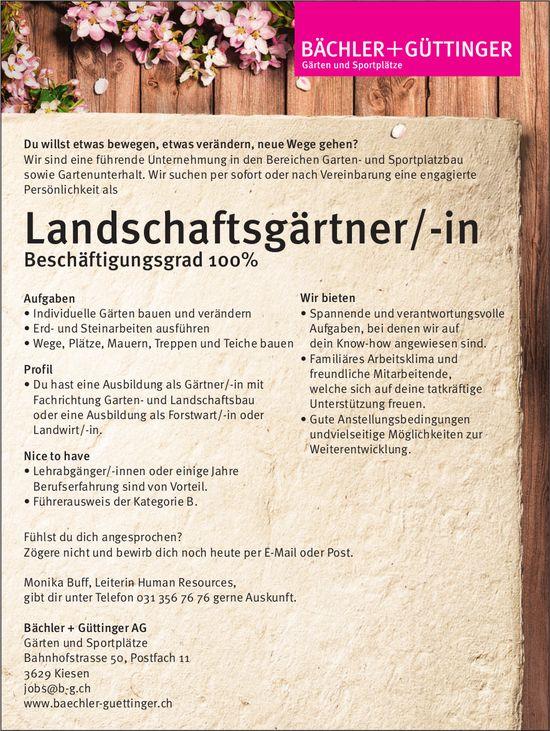 Landschaftsgärtner/-in, Bächler + Güttinger AG, Kiesen, gesucht