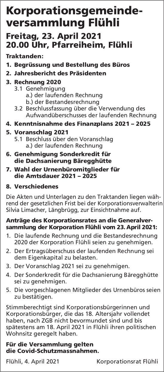 Korporationsgemeindeversammlung Flühli, 23. April, Pfarreiheim, Flühli