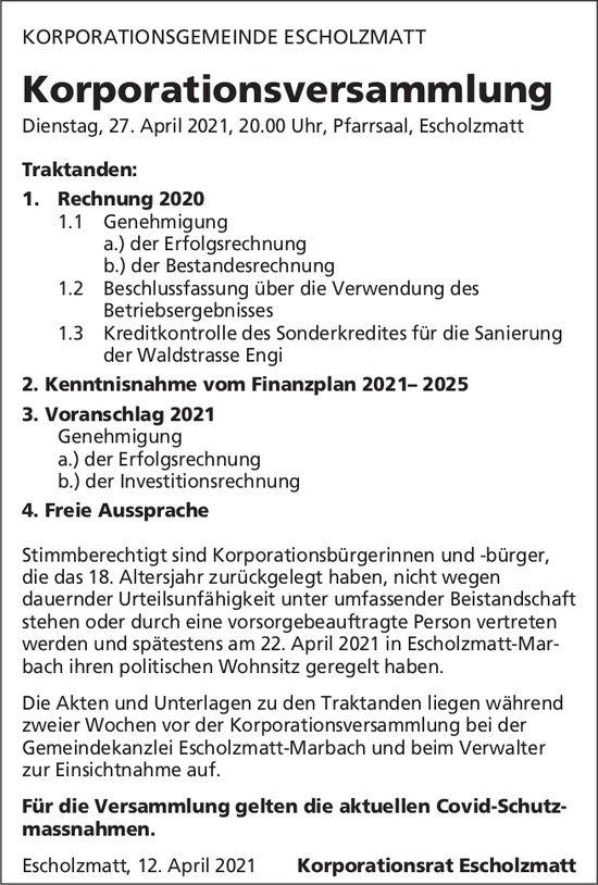 Korporationsversammlung, 27. April, Pfarrsaal, Escholzmatt-Marbach