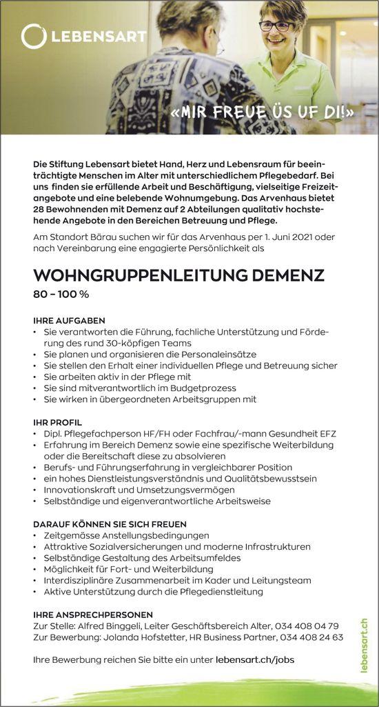 Wohngruppenleitung Demenz 80-100%, Stiftung Lebensart, Bärau, gesucht