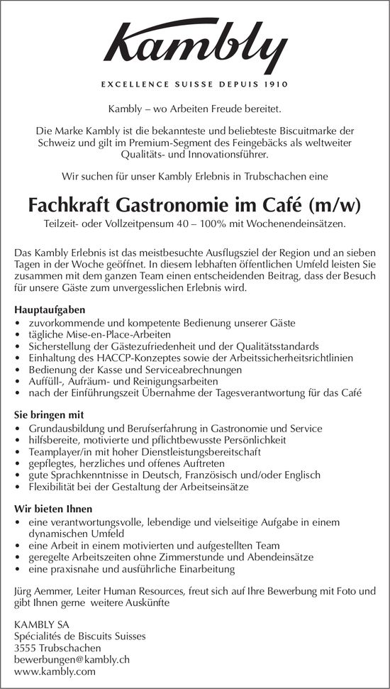 Fachkraft Gastronomie im Café (m/w), Kambly SA, Trubschachen, gesucht