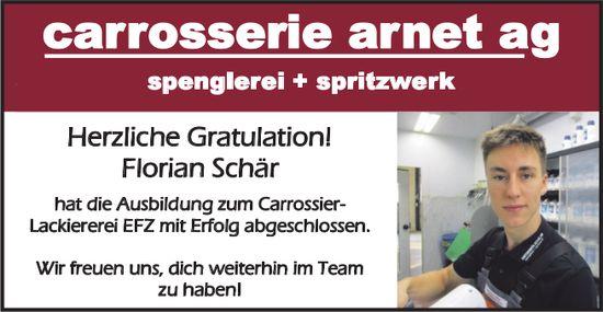 Carrosserie Arnet AG - Herzliche Gratulation! Florian Schär hat die Ausbildung zum Carrossier-Lackiererei EFZ mit Erfolg abgeschlossen.