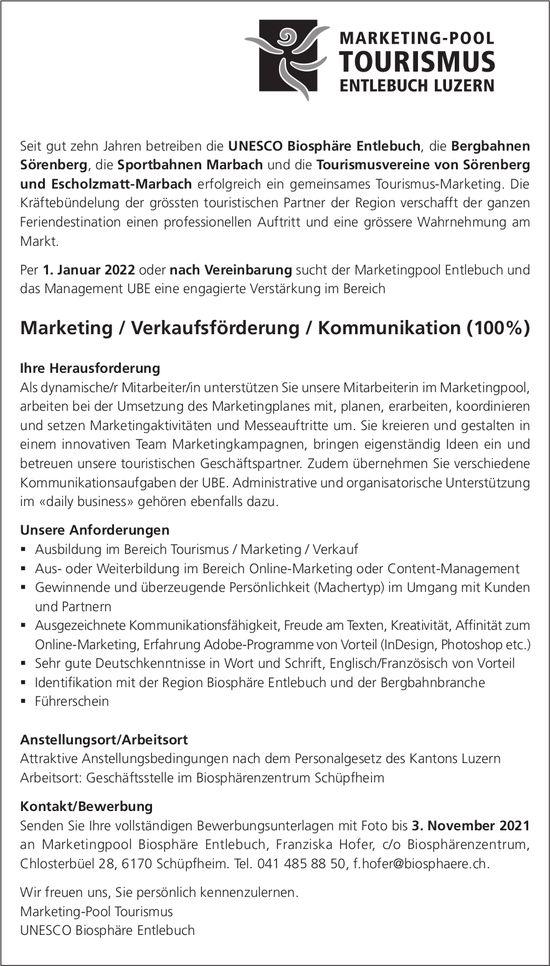 Verstärkung im Bereich Marketing / Verkaufsförderung / Kommunikation (100%), Marketingpool Biosphäre Entlebuch, Schüpfheim, gesucht