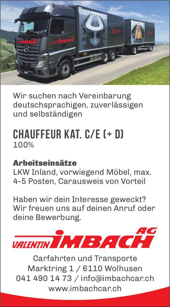 Chauffeur Kat. C/E (+ D) 100%, Valentin Imbach AG, Wolhusen, gesucht