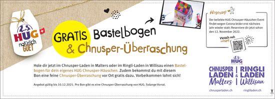 HUG Chnusperladen, Malters - Gratis Bastelbogen & Chnusper-Überraschung