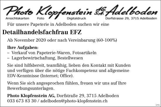 Detailhandelsfachfrau EFZ, Photo Klopfenstein AG, Adelboden, gesucht