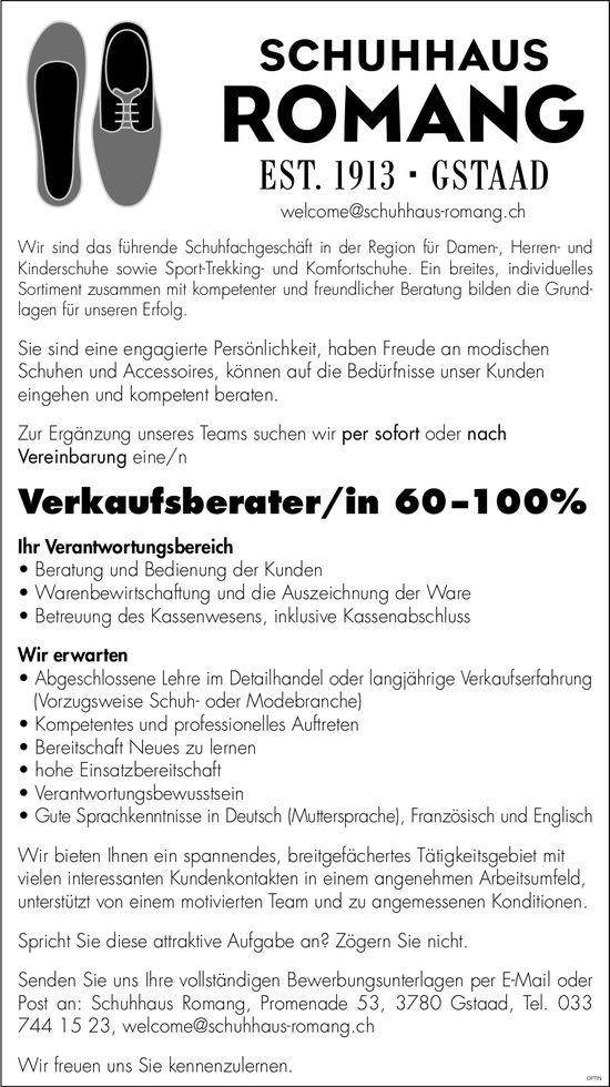 Verkaufsberater/in 60–100%, Schuhhaus Romang, Gstaad, gesucht