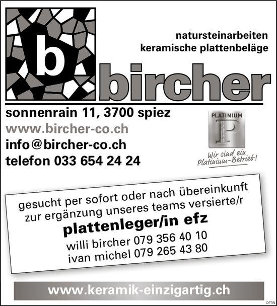 Plattenleger/in EFZ, Bircher Co, Spiez, gesucht