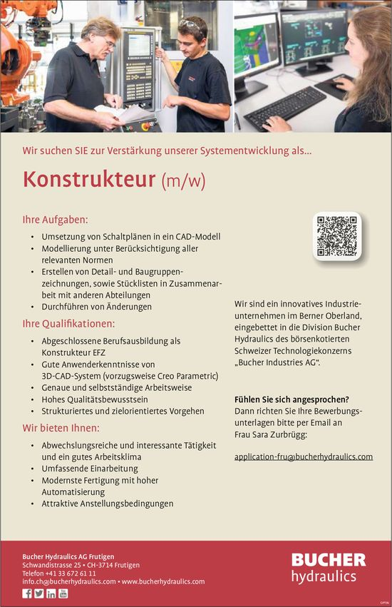 Konstrukteur (w/m), Bucher Hydraulics AG, Frutigen, gesucht