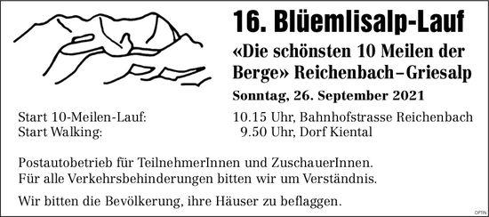 16. Blüemlisalp-Lauf, 26. September, Bahnhofstrasse, Reichenbach