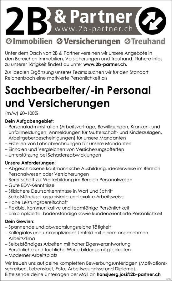 Sachbearbeiter/-in Personal und Versicherungen, 2B & Partner, Reichenbach, gesucht