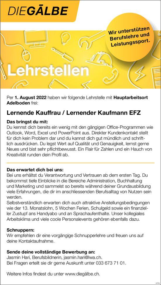 Lernende Kauffrau / Lernender Kaufmann EFZ, Die Gälbe, Adelboden, gesucht