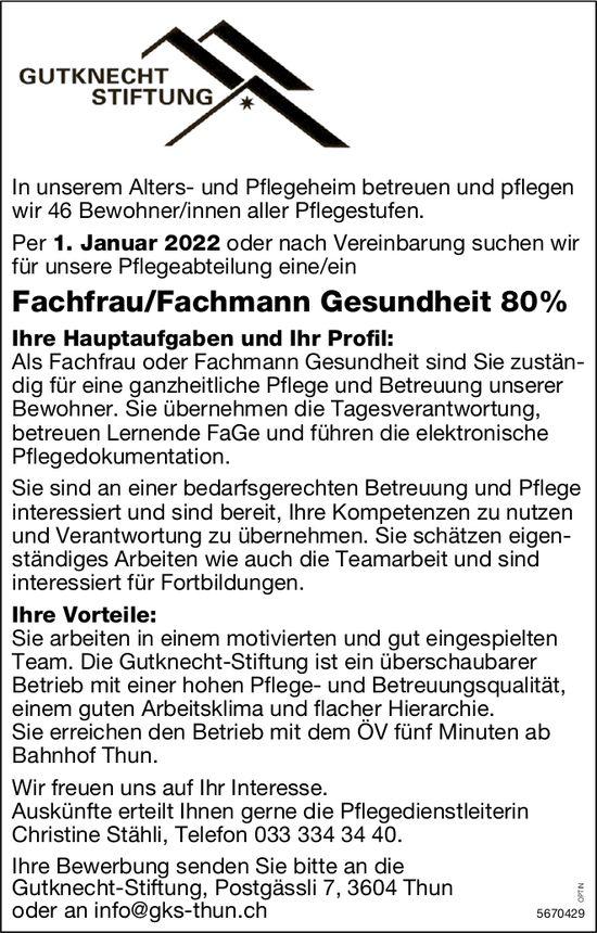 Fachfrau/Fachmann Gesundheit 80%, Gutknecht-Stiftung, Thun, gesucht