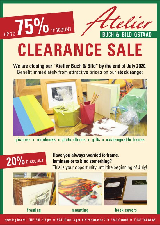 Atelier Buch & Bild, Gstaad - Clearance Sale, up to 75% discount