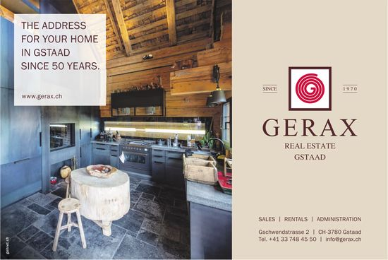 Gerax Real Estate, Gstaad - The Address for your Home in Gstaad since 50 years.