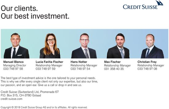 Credit Suisse, Gstaad - Our clients. Our best investment.