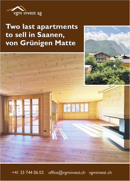 Vgm Invest AG, Saanen - Two last apartments to sell in Saanen, von Grünigen Matte