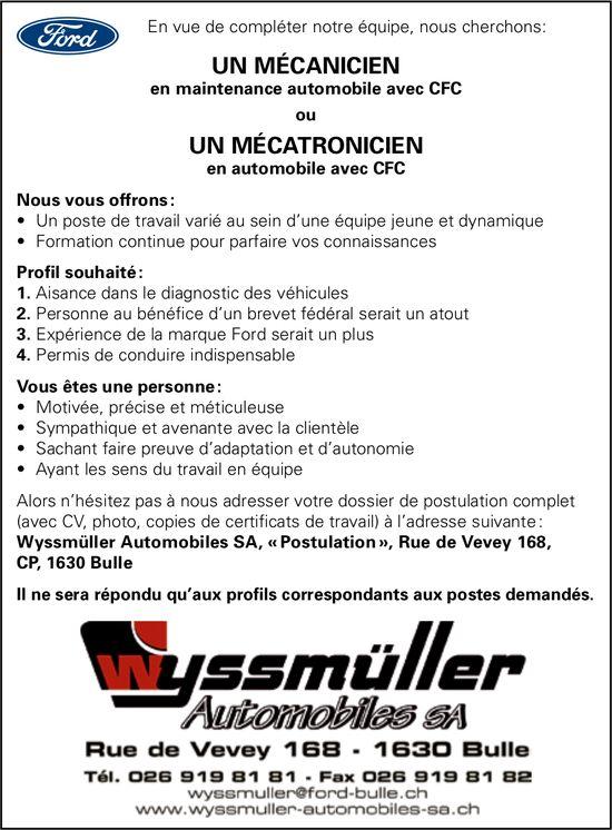 Un Mécanicien ou Un Mécatronicien, Wyssmuller Automobiles SA, Bulle,  cherché