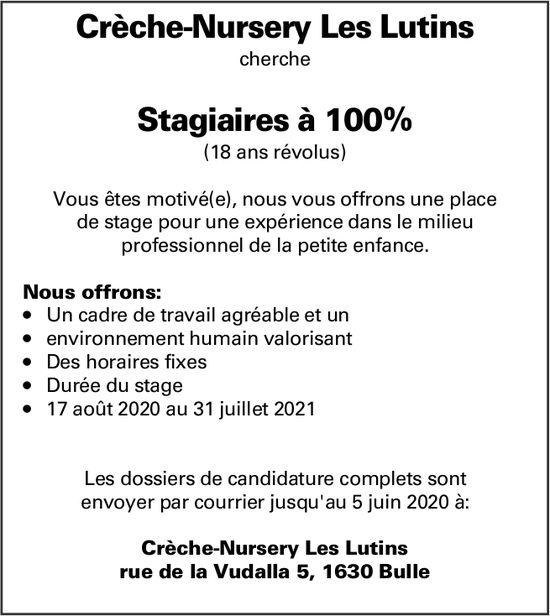 Stagiaires à 100%, Crèche-nursery Les Lutins,  Bulle,  recherché