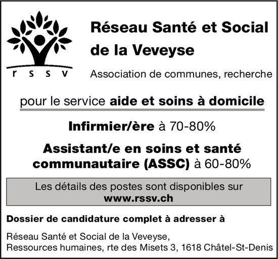 Infirmier/ère à 70-80% Assistant/e en soins et santé (assc) à 60-80%, Réseau Santé de la Veveyse