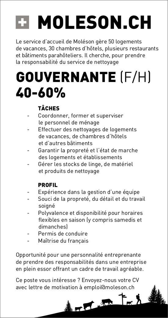 Gouvernante (f/h) 40-60%, Le service d'accueil, Moléson, recherché
