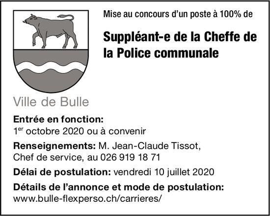 Suppléant-e de la Cheffe de la Police communale 100%, Ville de Bulle, recherché