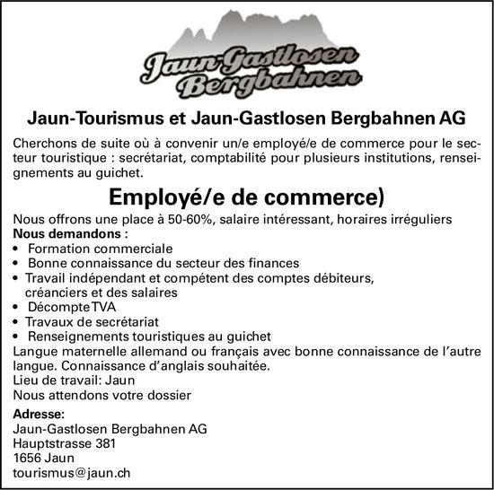 Employé/e de commerce, Jaun-Tourismus et Jaun-Gastlosen Bergbahnen AG, recherché