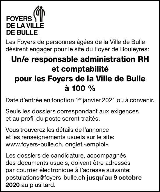Un/e responsable administration Rh et comptabilité pour les Foyers de la Ville de Bulle à 100 %, Bulle,  recherché