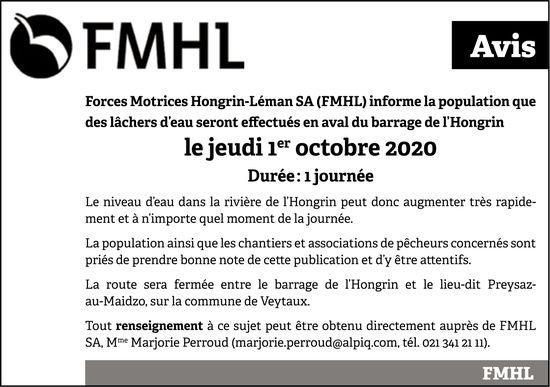 Forces Motrices Hongrin-Léman SA, 1 octobre, des lâchers d'eau seront effectués en aval du barrage de l'Hongrin