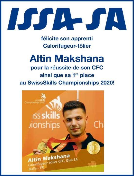 ISSA SA, félicite son apprenti calorifugeur-tôlier Altin Makshana pour la réussite de son CFC