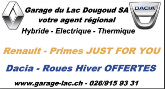 Garage Lac Dougoud SA, Renault-Primes Just For You | Dacia-Roues Hiver Offertes