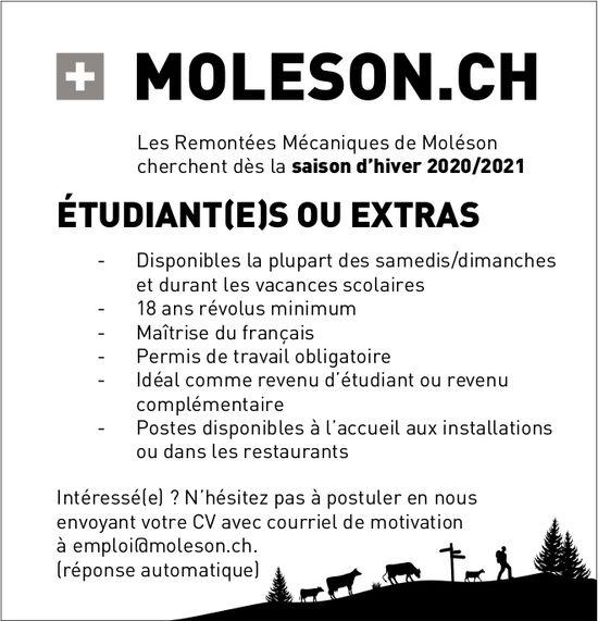 ÉTUDIANT(E)S OU EXTRAS, Les Remontées Mécaniques de Moléson, recherché