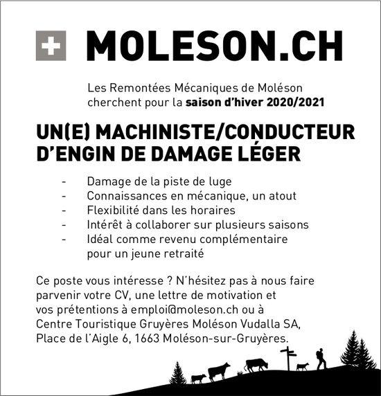UN(E) MACHINISTE/CONDUCTEUR D'ENGIN DE DAMAGE LÉGER, Centre Touristique Gruyères Moléson Vudalla SA, Moléson-sur-Gruyères, recherché